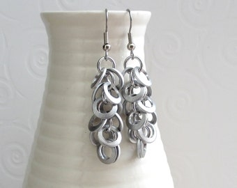 Upcycled chainmail earrings, silver brushed aluminum Shaggy Loops weave dangle earrings