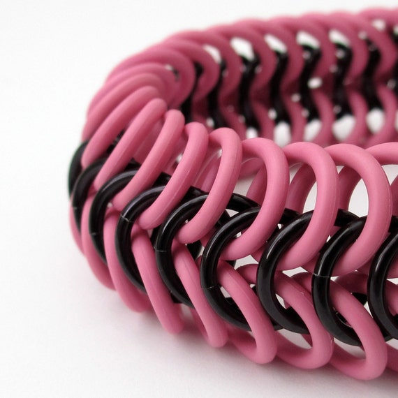 Clearance 40% off, Chainmail bracelet, hot pink and black stretchy rubber bracelet, Euro 6 in 1 weave