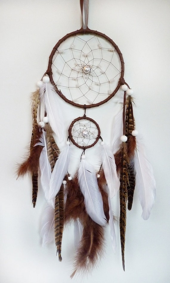 double dreamcatcher white and brown her hand around. Black Bedroom Furniture Sets. Home Design Ideas