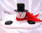RESERVED FOR NOMEDION -- Handcrafted Wooden Melting Snowman