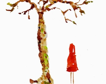 "Fine art print of original watercolor painting, ""Little Red Riding Hood"", Epson pigment ink on Hahnemühle paper"