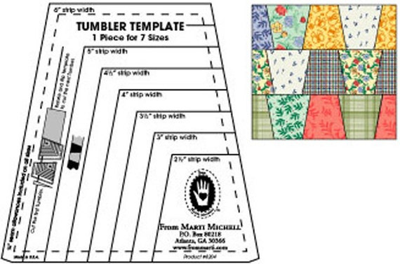 Tumbler template ruler from marti michell instructions for Quilters rulers and templates