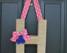 The Original Jute wrapped Americana Monogram Wreath.Jute Letter Wreath.Patriotic Wreath. Summer Wreath. Summer Door Hanger. USA wreath,