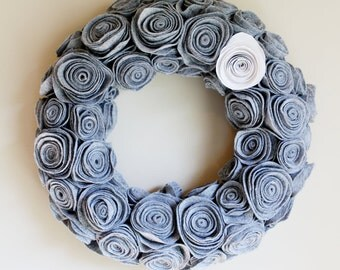 Handmade Grey Felt Rosette Wreath. Winter Wreath. Door Decor. Door Hanger. Wall Hanging. Felt Wreath. Flower Wreath. Custom Gift.Fall Wreath