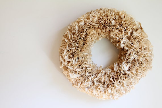 Brown Shabby Chic Wreath.  Shabby Wreath.  Front Door Wreath.