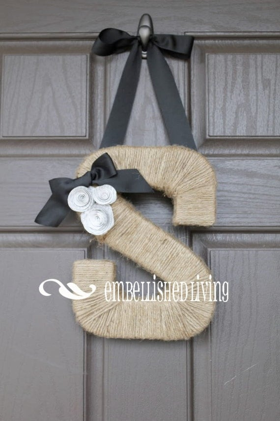 Custom Monogram wreath. Farmhouse Style Jute Letter. Embellished Living on Etsy