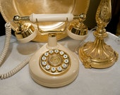 Vintage Ivory & Gold Push Button Western Electric Phone
