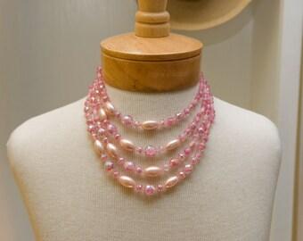 Vintage Pink Crystal Necklace