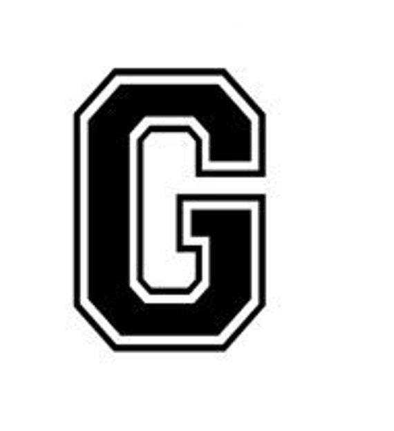 Letter G Varsity Lettering Vinyl Decal