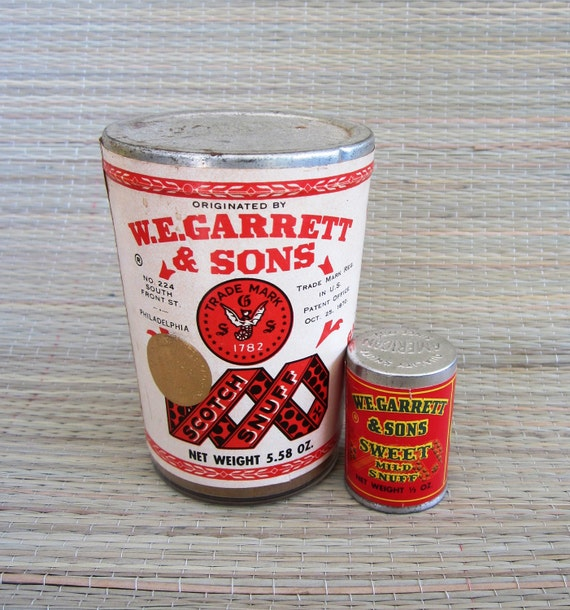 2  W.E. Garrett  and Sons Vintage Snuff Tin Canister Lot - Sweet Mild & Scotch