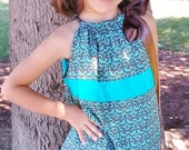 Turquoise and  Chocolate Brown Paisley Pillowcase Dress by Puddle Bug Designs