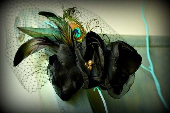 Birdcage Veil Fascinator Black with Peacock and Iridescent Feathers