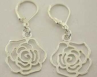 Sterling silver rose lever back earrings 25
