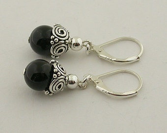 Genuine Onyx Lever Back Sterling Silver Earrings 57