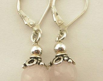 Genuine Rose Quartz Lever Back Earrings 14