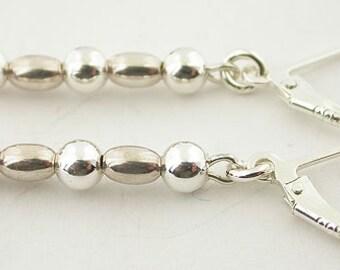 Genuine Garnet Lever Back Sterling Silver Earrings 22
