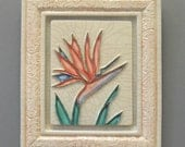 "Bird of Paradise Tile set in Coral Tile Frame  7 3/4"" X  9"""