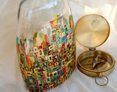 ON SALE - Hand-painted colourful vase - Golden city - Decorative art glass
