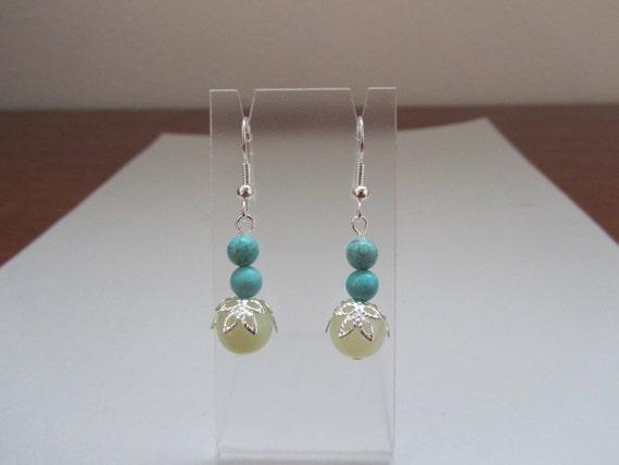 Sea Green New Jade and Blue Magnesite Earrings