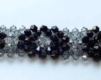 Crystal Beaded Bracelet Woven in Black and Silver