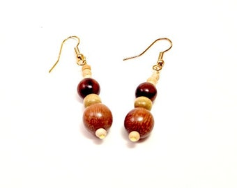 Wooden Beaded Glory Earrings
