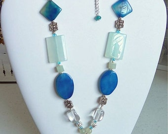 Venetian Blue  and Pale Green Beaded Necklace