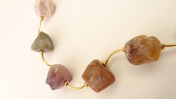 Natural Stone Multi-Colored Rustic Necklace