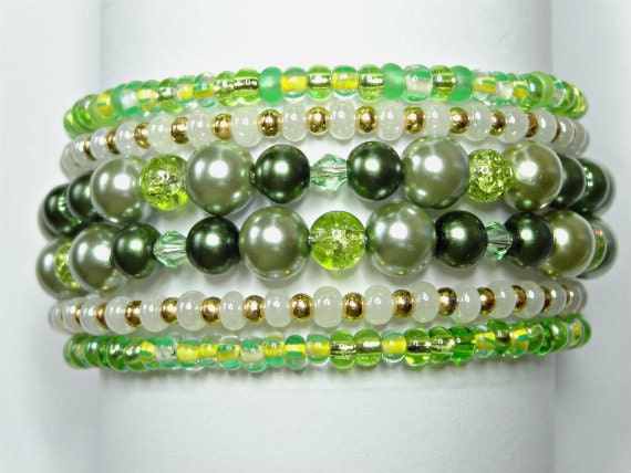 Green Pearls, Crystals and Glass Beads Memory Wire Wrap Bracelet