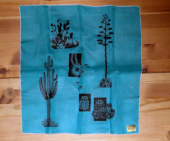 Vintage blue Wicke Irish linen hankie with cactus designs