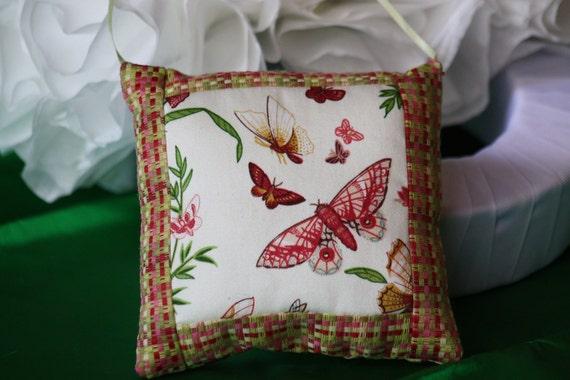 Beautiful Butterflies accent pillow. Burgandy, silk, decor, soft green