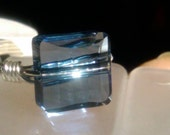 Swarovski Crystal Stairway Denim Blue ring