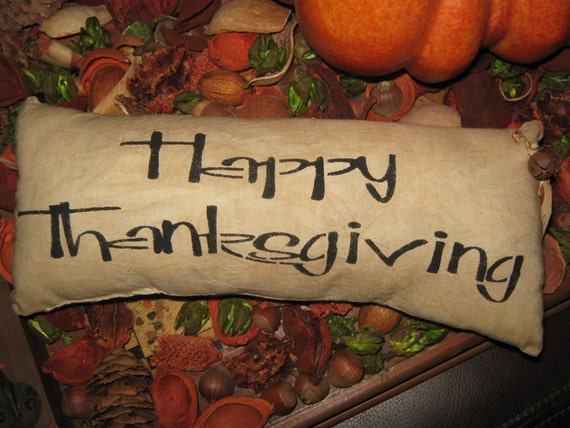 "Primitive Hand Painted Stenciled  Pillow "" HAPPY THANKSGIVING "" Fall Decoration ThanksGiving Halloween"