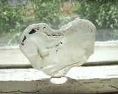 Large Molten Clear Frosted HEART Tumbled Vintage Glass