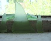 Tumbled Lime Green Trash Glass Shards 5 pcs
