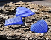 3 pcs Cobalt striped glass supply.....Tumbled Vintage Trash Glass