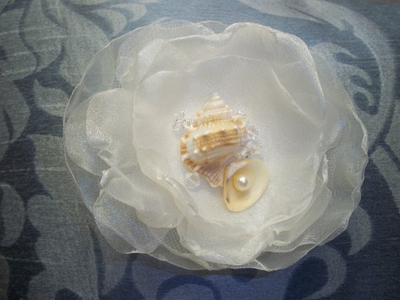 Beach Bride Hair Flower Comb, Shells, Crystals, Pearl, Beach Wedding, Brooch - A Bijoux Bridal Chicago Signature Design
