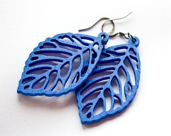 Royal Blue Wooden Leaf Dangles