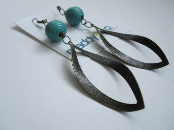 Bronze Dangles with Blue Bead