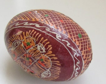 Vintage Pysanka, Ukrainian Easter egg, Wooden handpainted  Egg,  pysanky eggs
