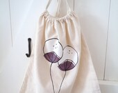 hand painted canvas bag  purple and white flowers drawstring bag  book bag  reusable grocery bag cotton shopping bag