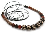 wooden beaded necklace jasper necklace lava yellow coral necklace leather necklace statement necklace red gemstones