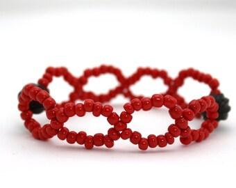 orange bracelet trade bead woven beaded bracelet wood and glass tribal bracelet stretch bracelet