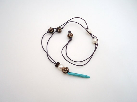 turquoise spike necklace leather beaded necklace beach necklace indie necklace bone pearl salwag bohemian necklace
