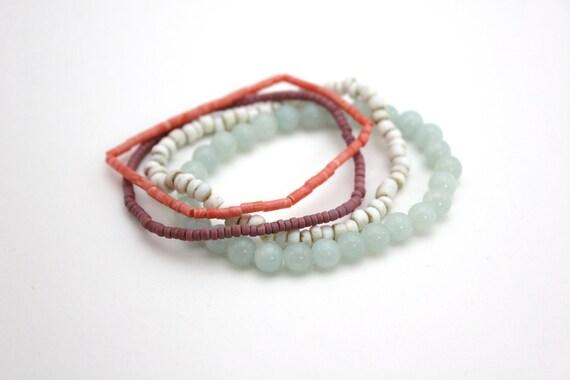 spring bracelet set beaded bracelets pastel colors vintage trade beads gemstone bracelets stretch stacking bracelets