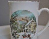 "Currier & Ives Collectable Mug - Winter Scene ""American Homestead Winter"""