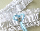 Bridal Garter Set withWhite Lace, Blue Ribbon and Rhinestone trim Something Blue