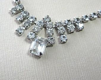 Vintage Rhinestone Necklace, Bridal