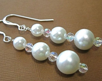 Pearl and Crystal Dangle Earrings on Sterling Silver hooks, bridal