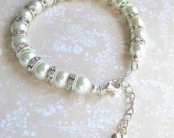 Pearl and Rhinestone Bridal Bracelet