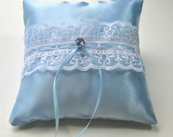 Blue Satin Ring Bearer Pillow trimmed with white lace and blue rhinestone, something blue